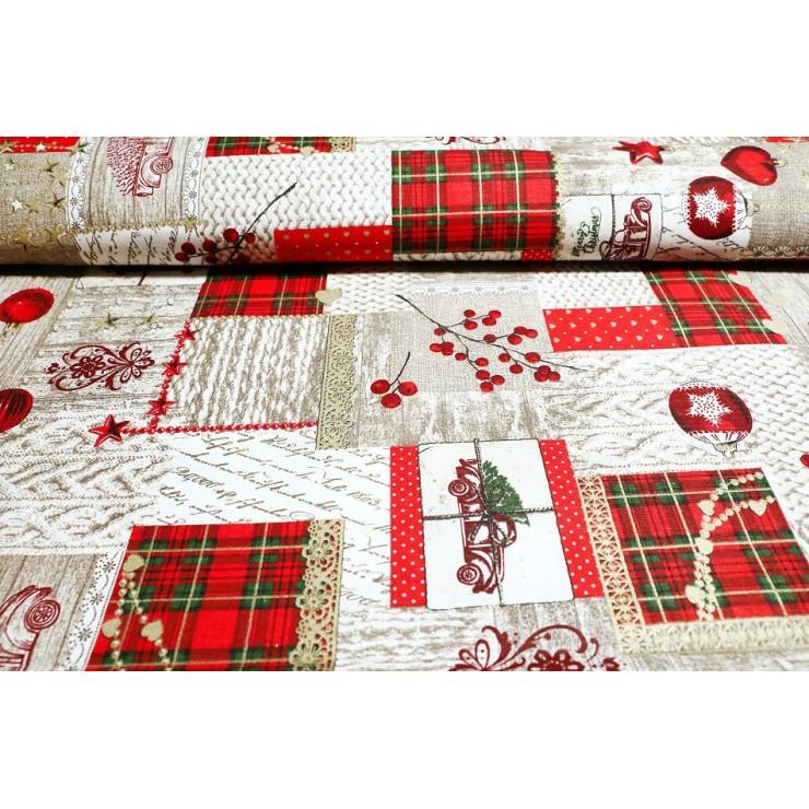 Dekorační látka bavlna Vánoce, š. 140 cm