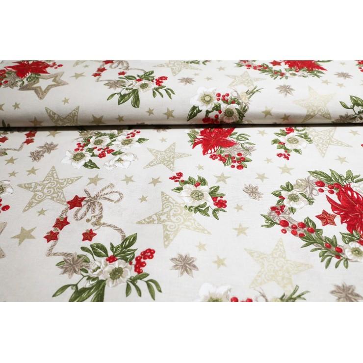 Dekorační látka bavlna Vánoční růže béžová, š. 140 cm