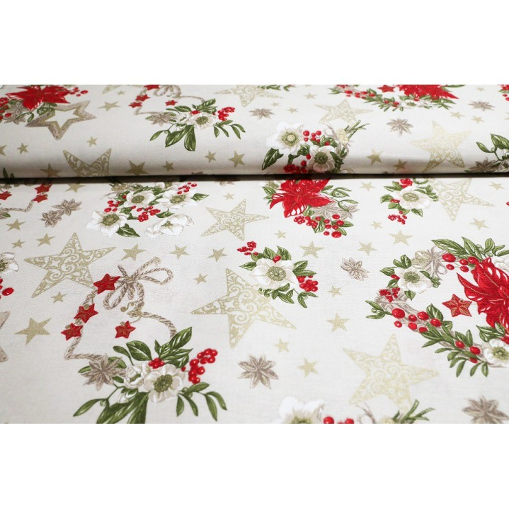 Fabric cotton Christmas roses beige, h. 140 cm