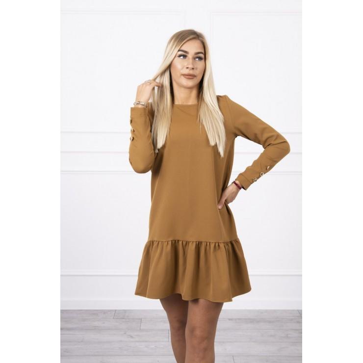 Dámske šaty s volánom MI66188 camel