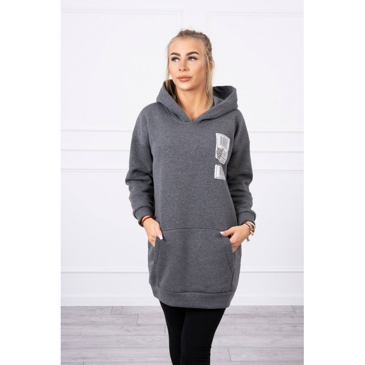 Hooded dress with e hood MI9147 graphite