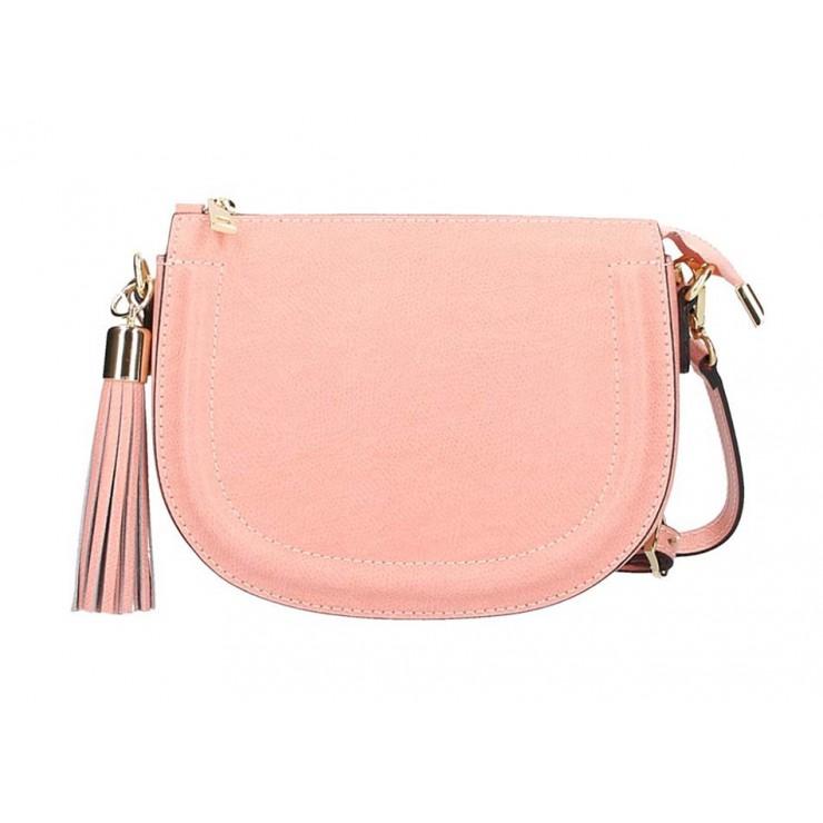 Ružová kožená kabelka na rameno 1021