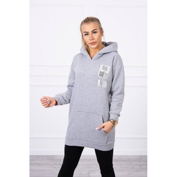 Hooded dress with e hood MI9147 gray