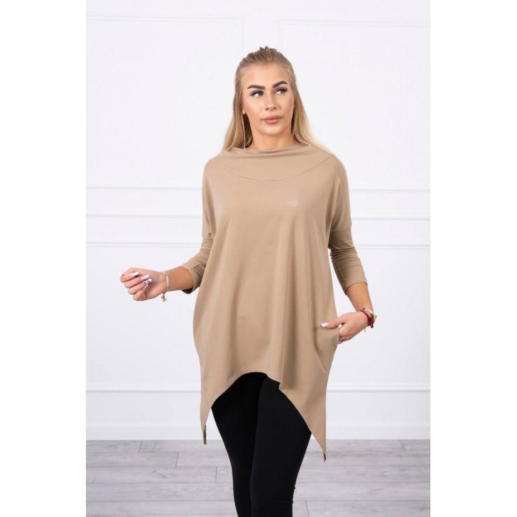 Women's sweatshirt with print of bicycle MI9139 camel