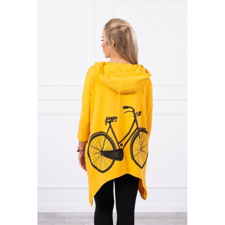 Women's sweatshirt with print of bicycle MI9139 mustard