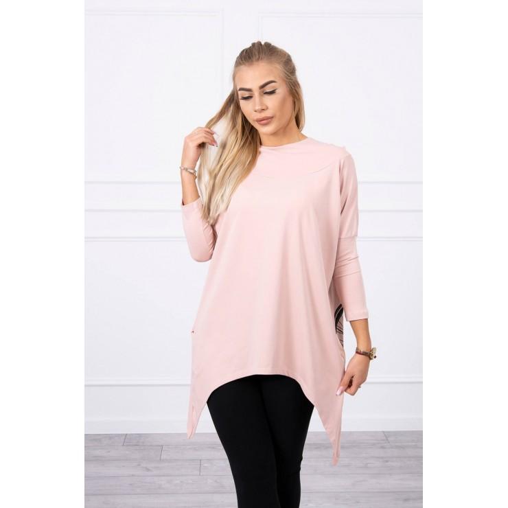 Women's sweatshirt with print of bicycle MI9139 powder pink