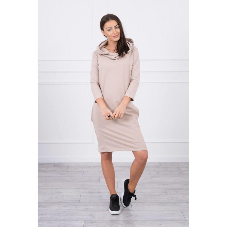 Šaty s kapucňou a vreckami MIG8847 tmavobéžové
