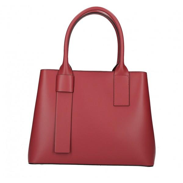 Kožená kabelka 158 tmavočervená Made in Italy Červená