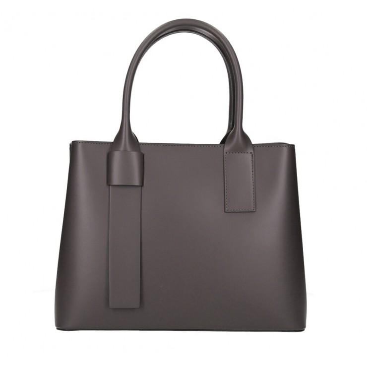 Genuine Leather Handbag 158 dark brown Made in Italy