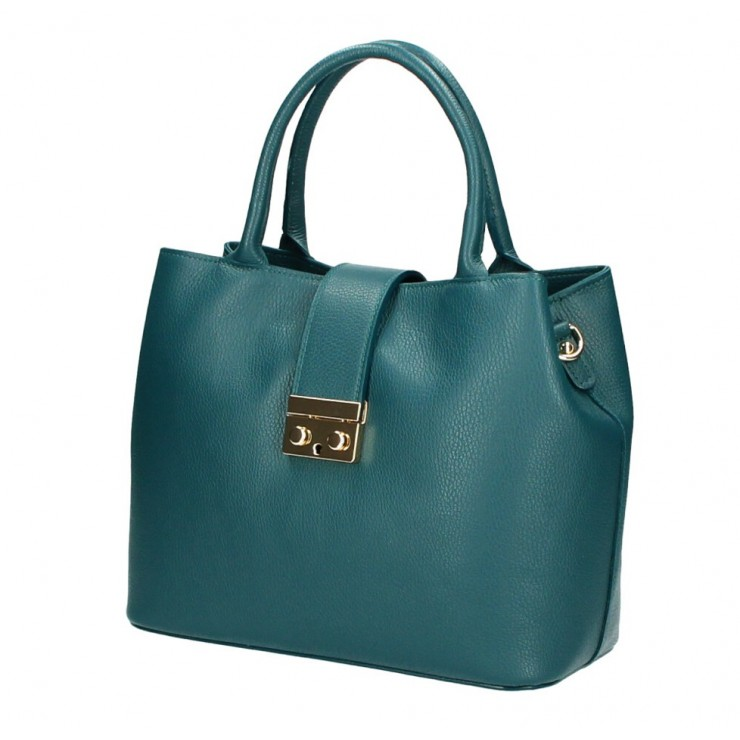 Woman Leather Handbag 1137 teal Made in Italy