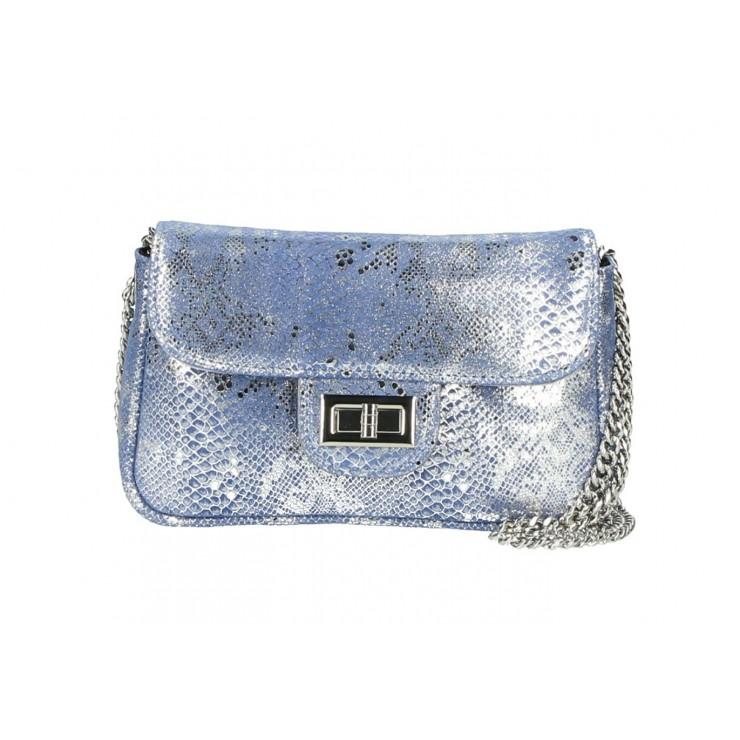 Kožená kabelka MI92 modrá Made in Italy