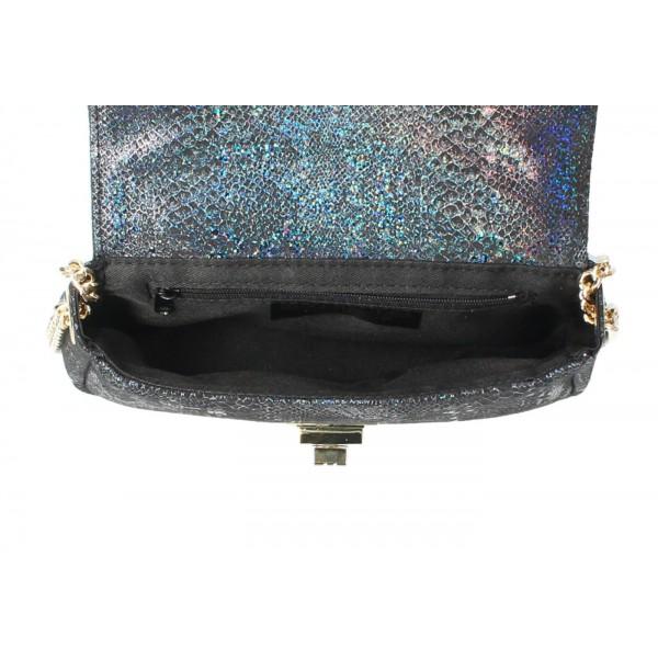 Kožená kabelka MI92 modrá Made in Italy Modrá