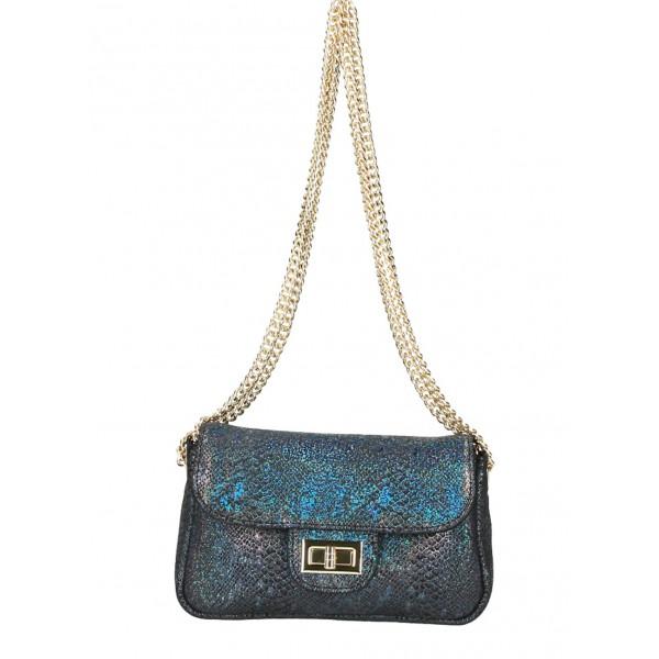 Kožená kabelka MI92 viacfarebná Made in Italy Modrá