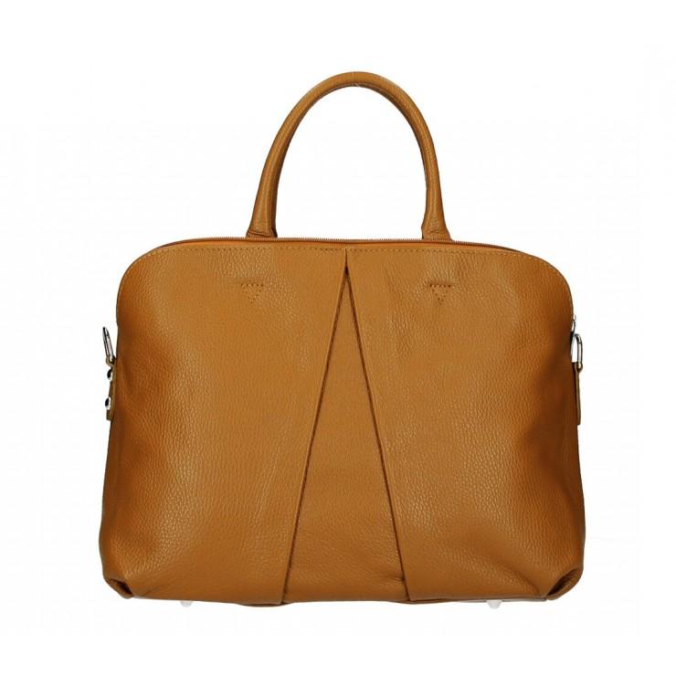 Genuine Leather Handbag MI87 cognac Made in Italy