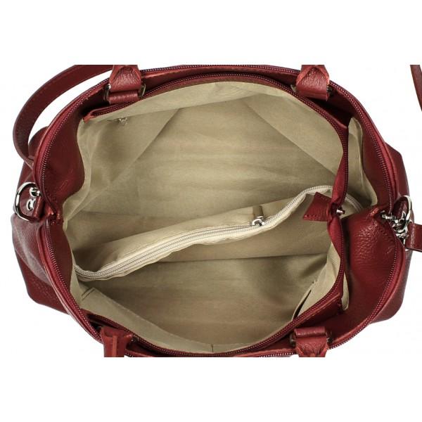 Kožená kabelka MI87 koňak Made in Italy Koňak