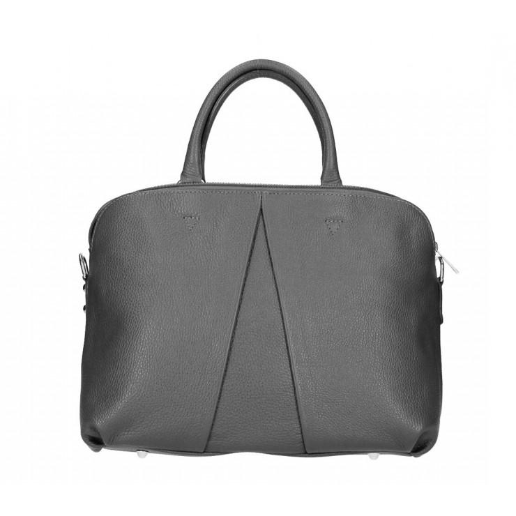 Genuine Leather Handbag MI87 dark gray Made in Italy