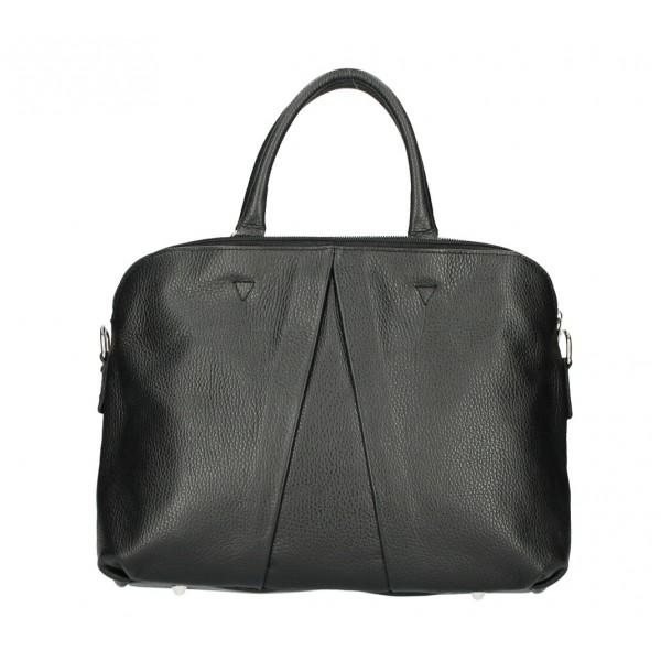 Kožená kabelka MI87 čierna Made in Italy Čierna