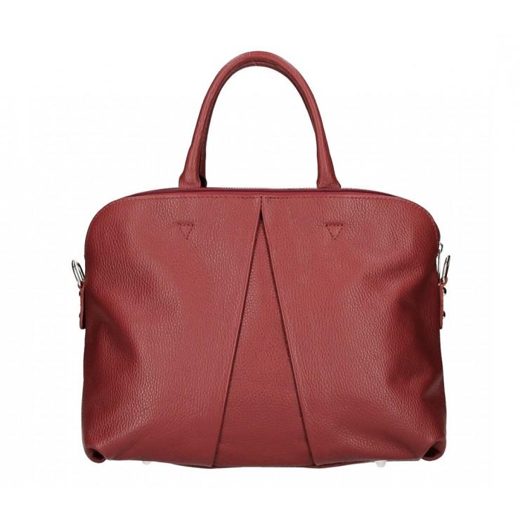 Genuine Leather Handbag MI87 dark red Made in Italy