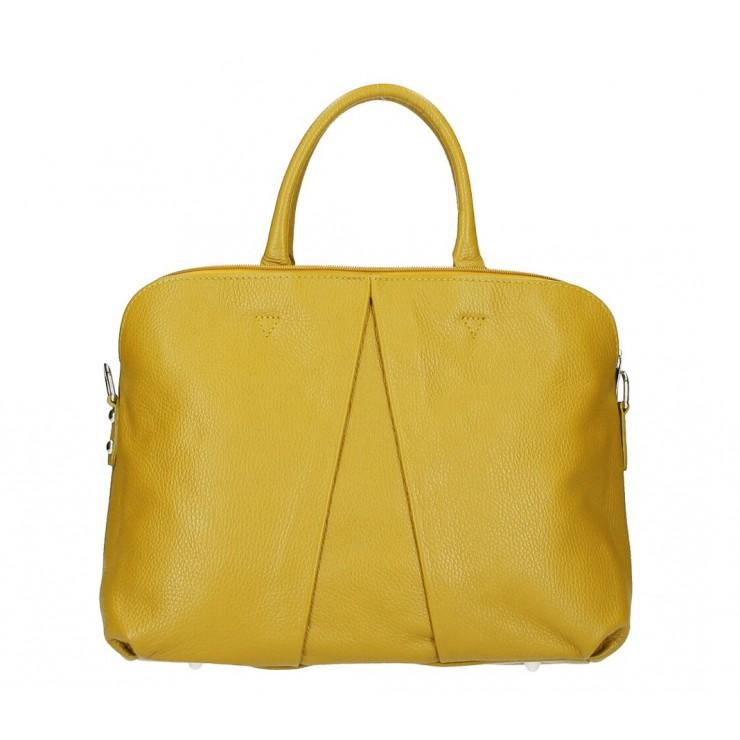 Genuine Leather Handbag MI87 mustard Made in Italy