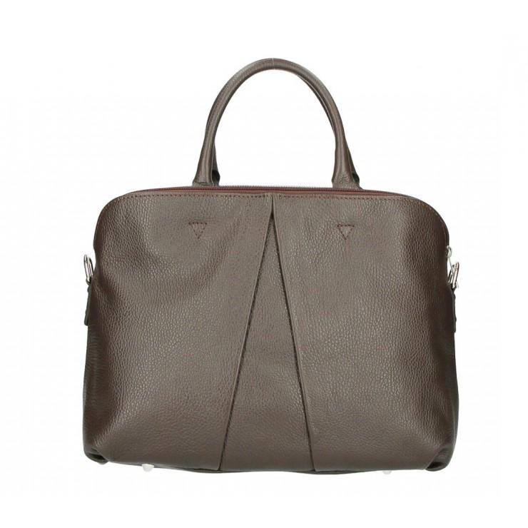 Genuine Leather Handbag MI87 dark brown Made in Italy