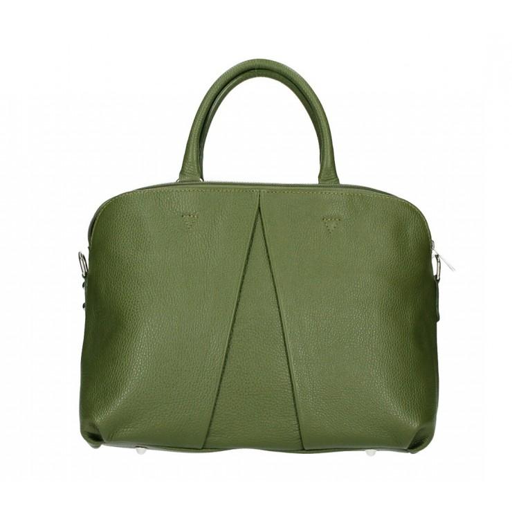 Genuine Leather Handbag MI87 military green Made in Italy