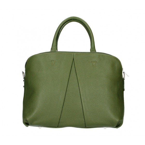 Kožená kabelka MI87 vojenska zelená Made in Italy Zelená