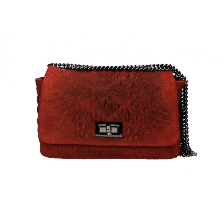 Talianska kožená kabelka potlač krokodíl 439 tmavočervená