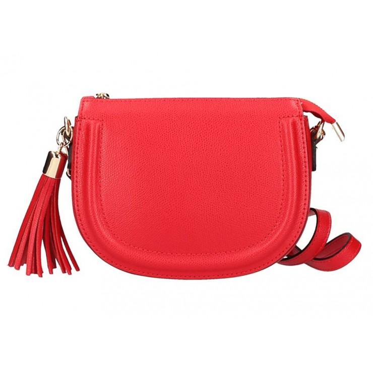 Červená kožená kabelka na rameno 1021