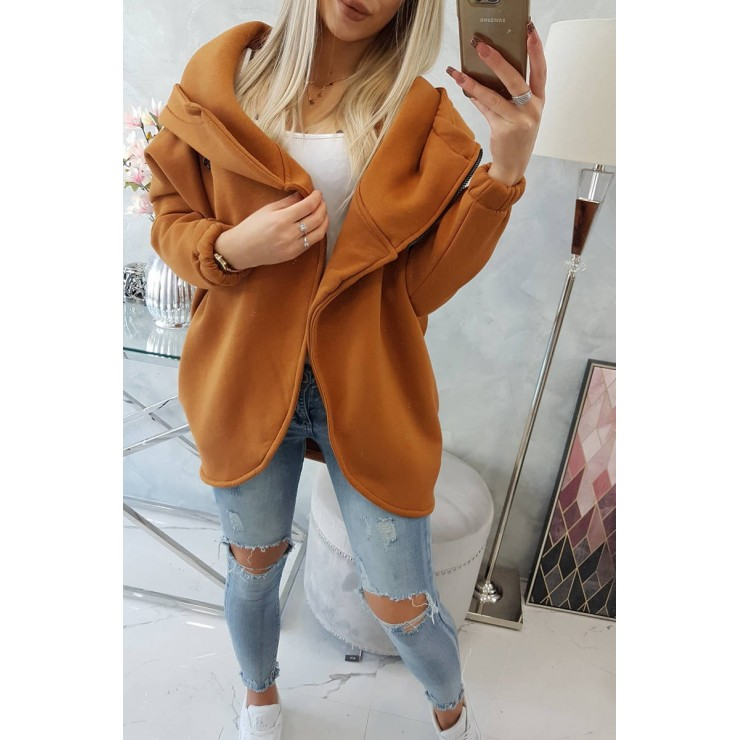 Women's sweatshirt with short zipper MI9110 camel