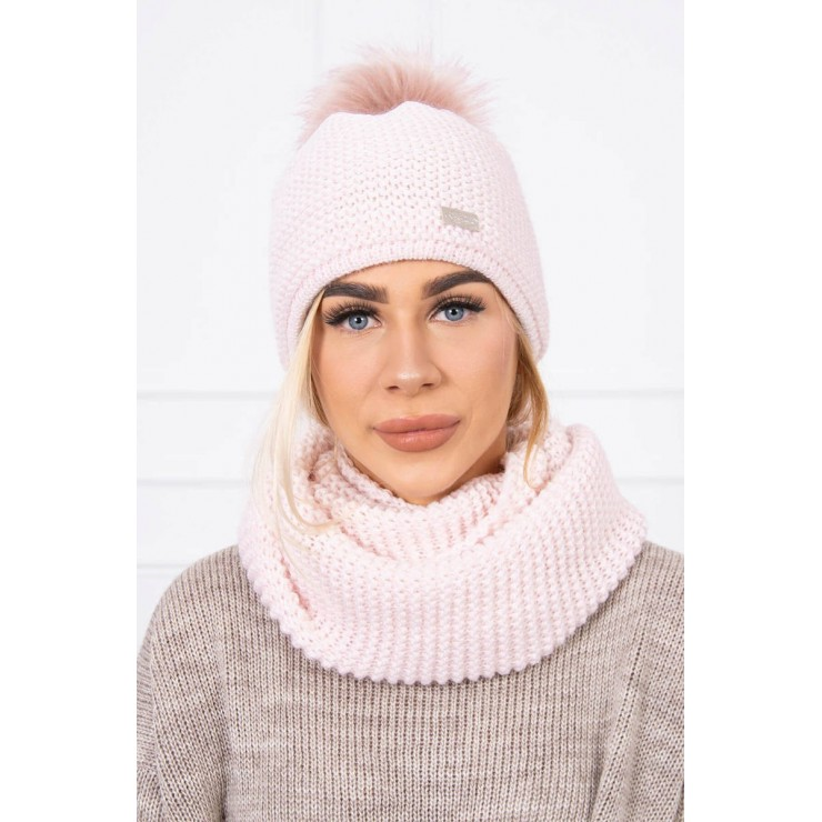 Women's Winter Set hat and scarf  MIK113 light pink