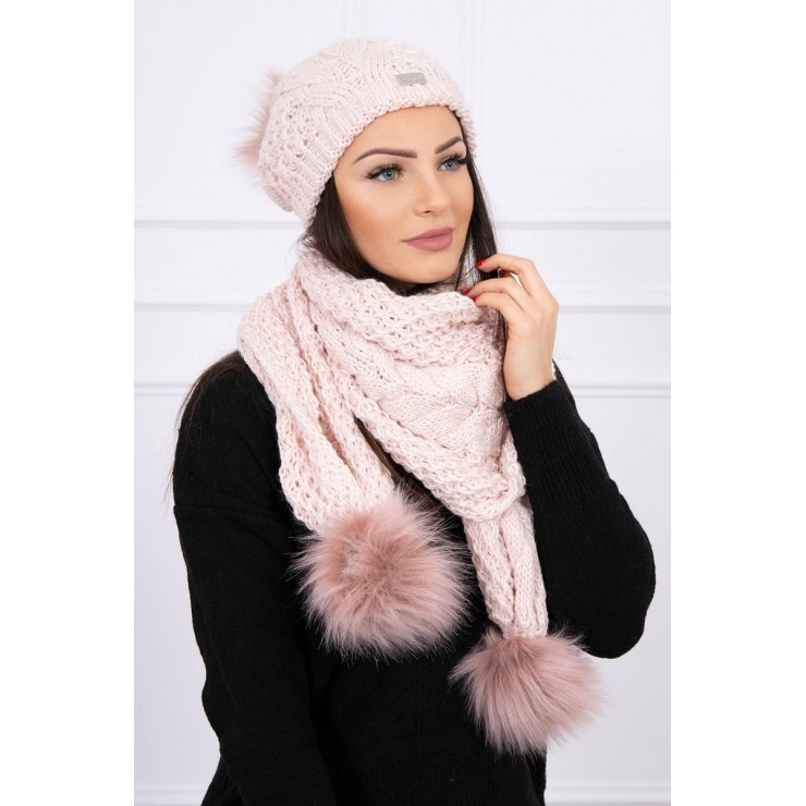 Women's Winter Set hat and scarf  K110 light pink