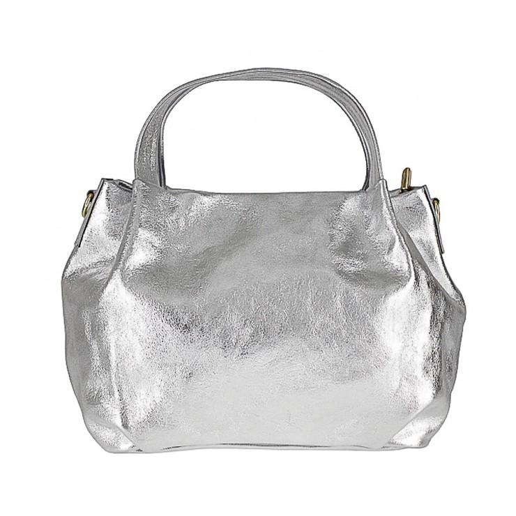 Genuine Leather Handbag 784 silver