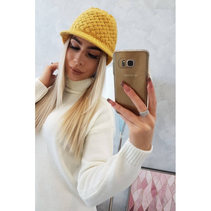 Dámsky pletený klobúk MIK164 okrový