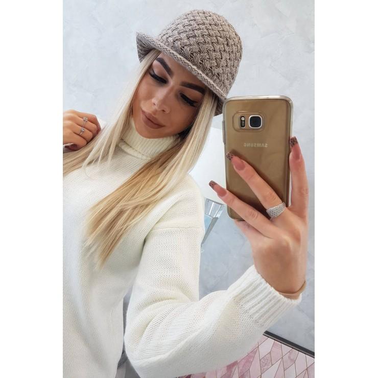 Dámsky pletený klobúk MIK164 tmavobéžový