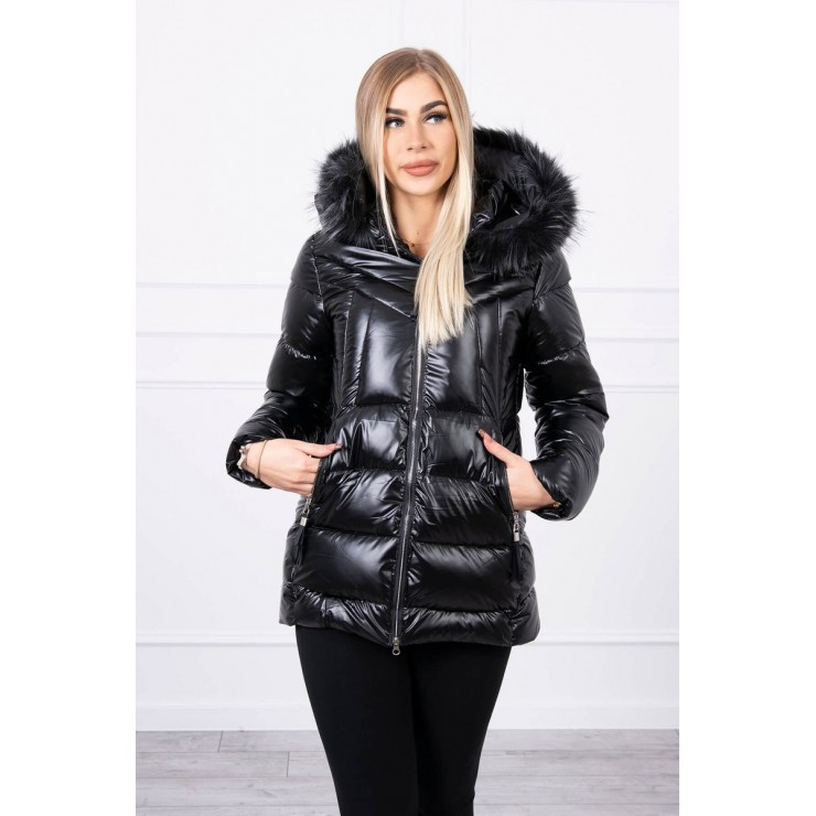 Women's winter jacket with hood MI8206 black
