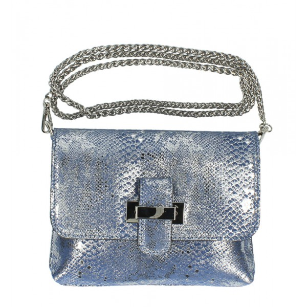 Kožená kabelka MI79 modrá Made in Italy Modrá