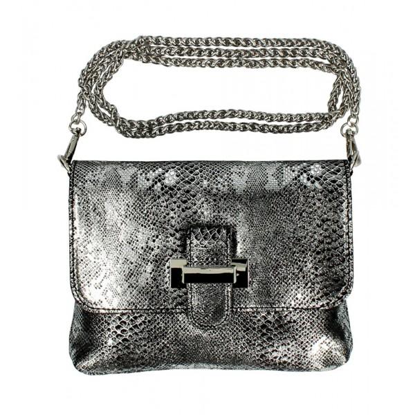 Kožená kabelka MI79 čierna Made in Italy Čierna