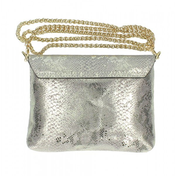 Kožená kabelka MI79 zlatá Made in Italy Zlatá