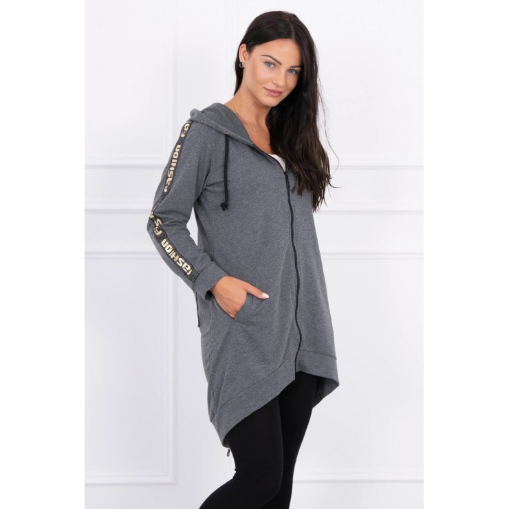 Women's sweatshirt with zipper at the back MI8997 graphite
