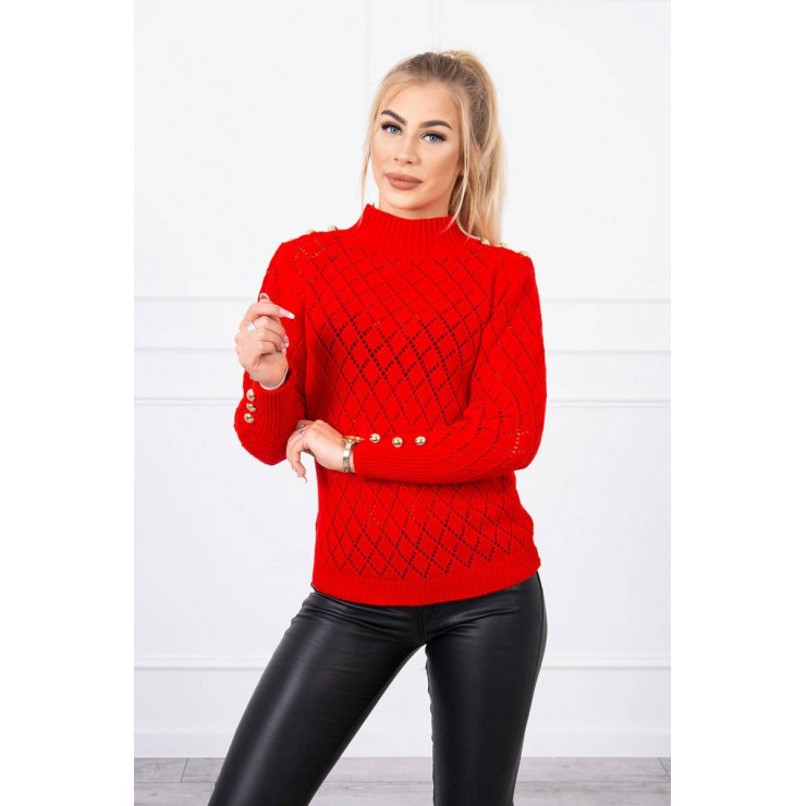Ladies sweater with decorative buttons MI2020-19 red