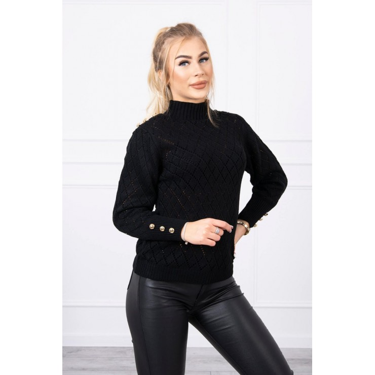 Ladies sweater with decorative buttons MI2020-19 black