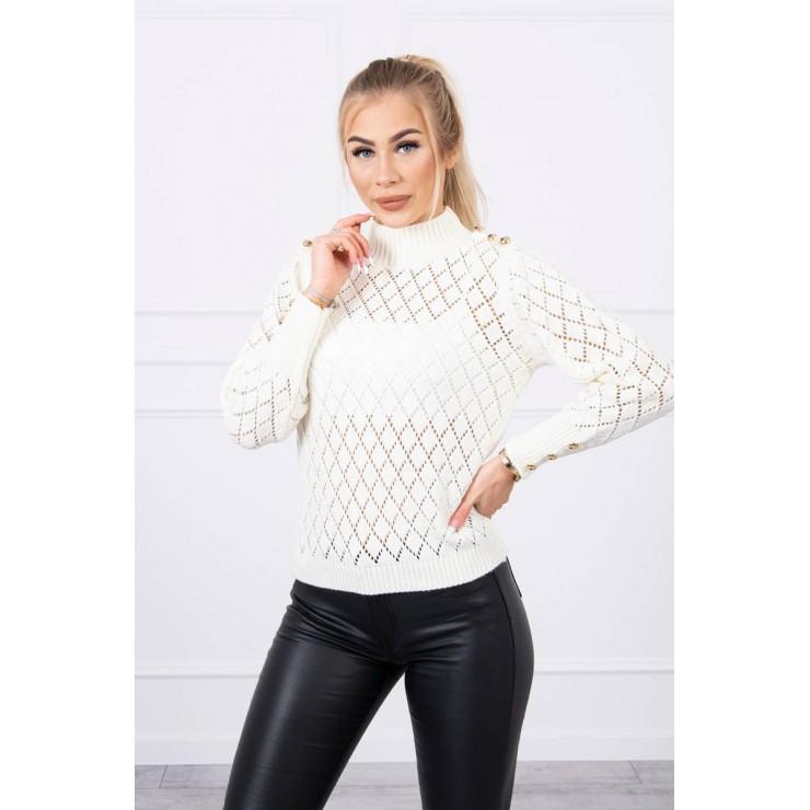 Ladies sweater with decorative buttons MI2020-19 cream