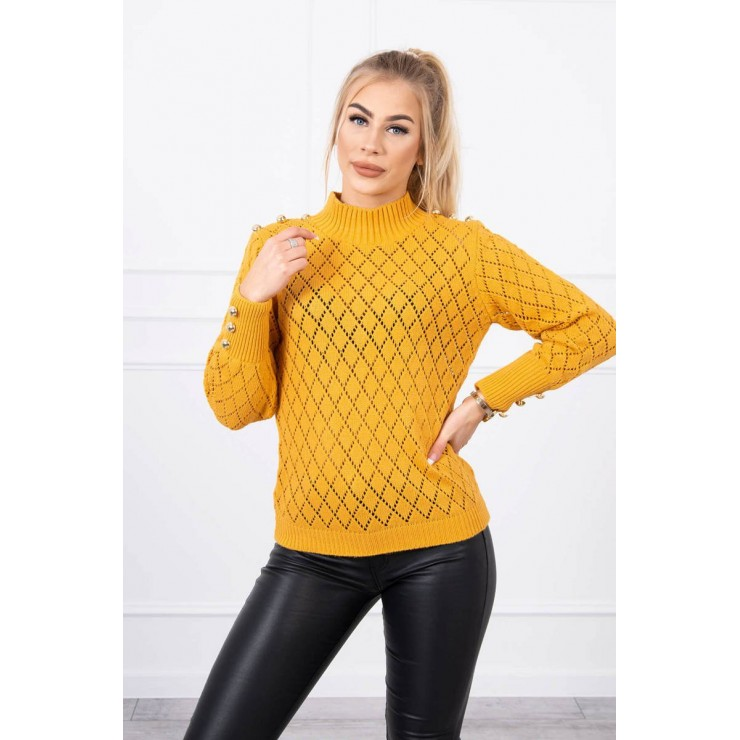 Ladies sweater with decorative buttons MI2020-19 mustard