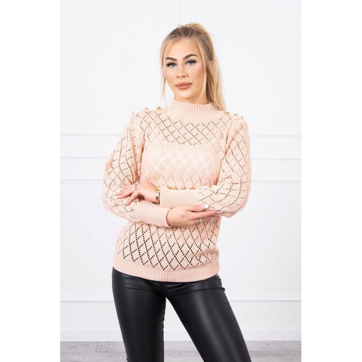 Ladies sweater with decorative buttons MI2020-19 powder pink