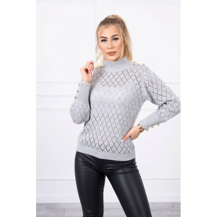 Ladies sweater with decorative buttons MI2020-19 gray