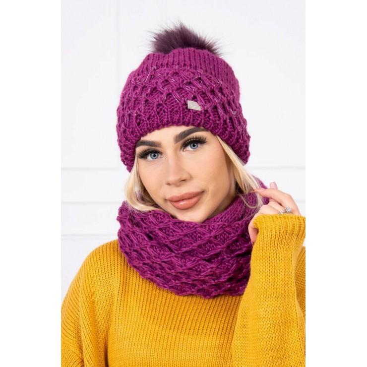 Women's Winter Set hat and scarf  MIK119 purple