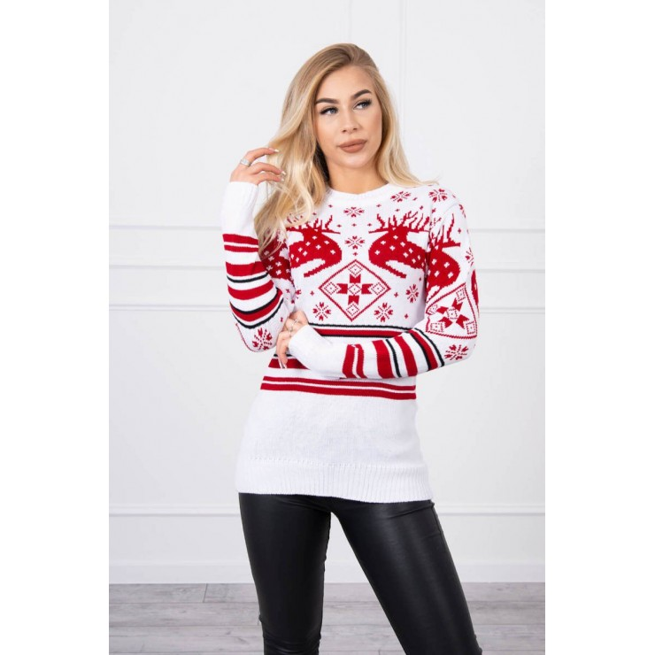 Women's sweater with a Christmas motif MICH-4 white