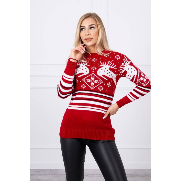Women's sweater with a Christmas motif MICH-4 red