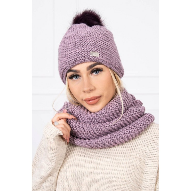 Women's Winter Set hat and scarf  MIK113 purple