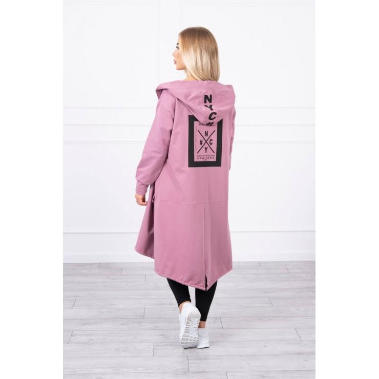 Cape with a hood oversize MI004 dark pink